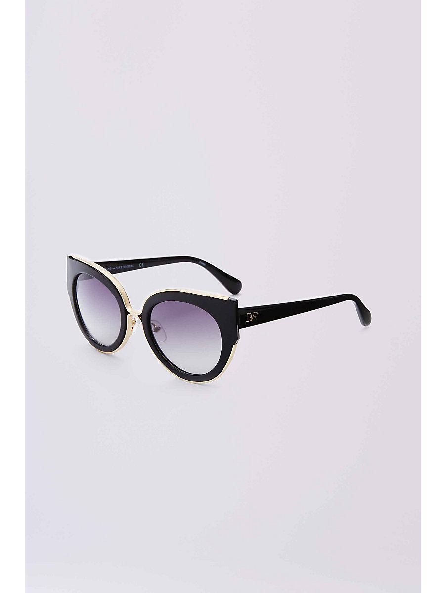 Norah Cat Eye Sunglasses in Black by DVF