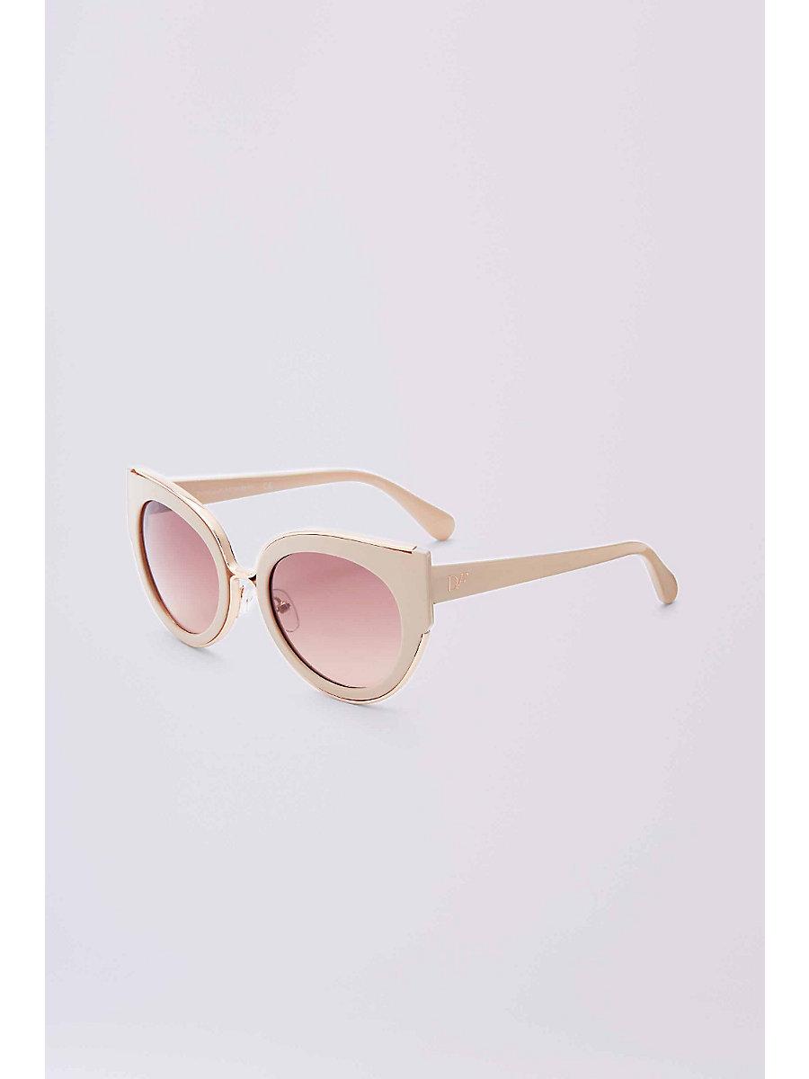 Norah Cat Eye Sunglasses in Rose Opal by DVF