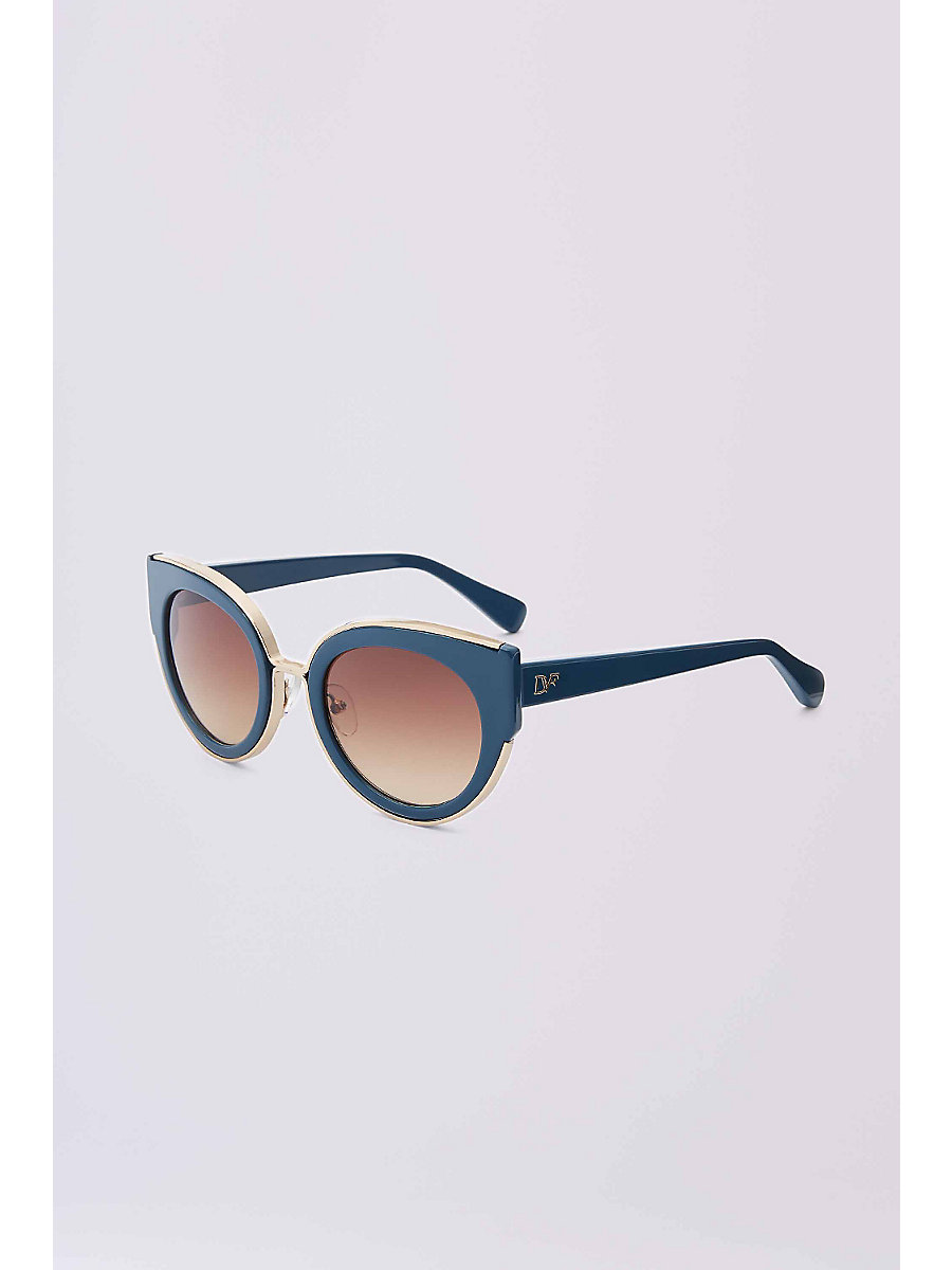 Norah Cat Eye Sunglasses in Teal by DVF