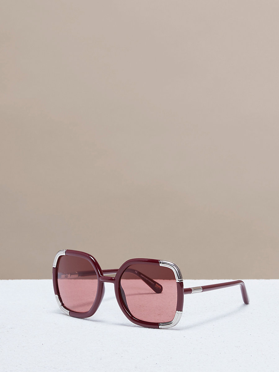 Oversized Sunglasses in Burgundy by DVF