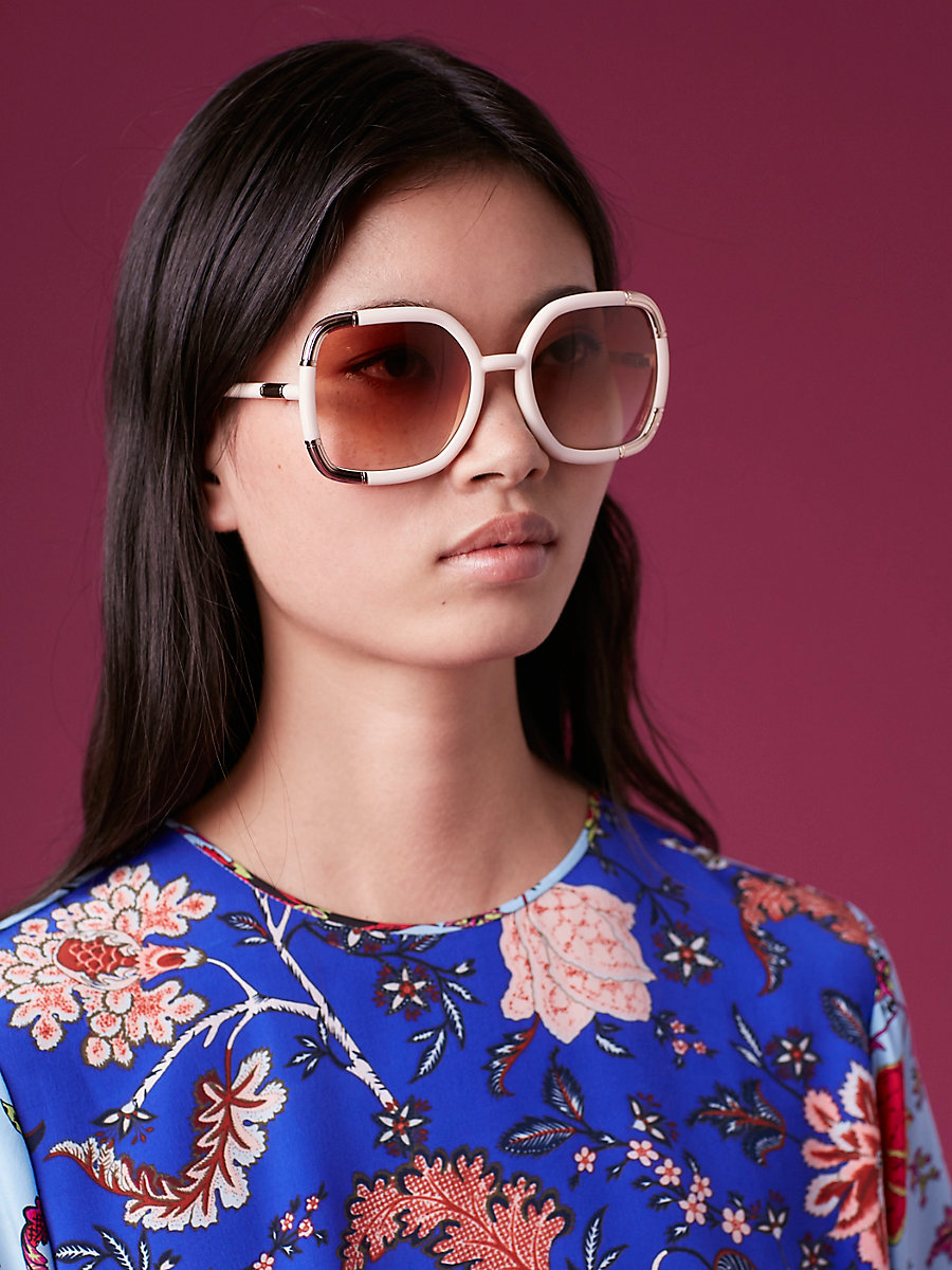Oversized Sunglasses in Cream by DVF
