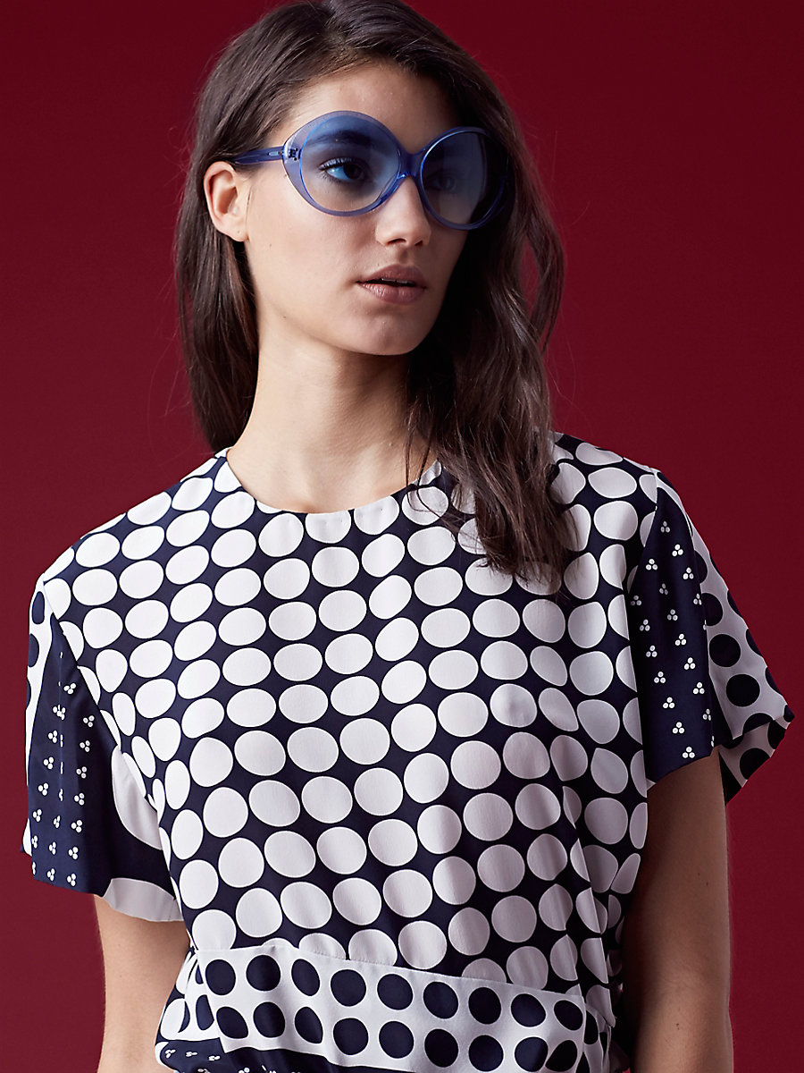 Sophie Circle Sunglasses in Blue by DVF