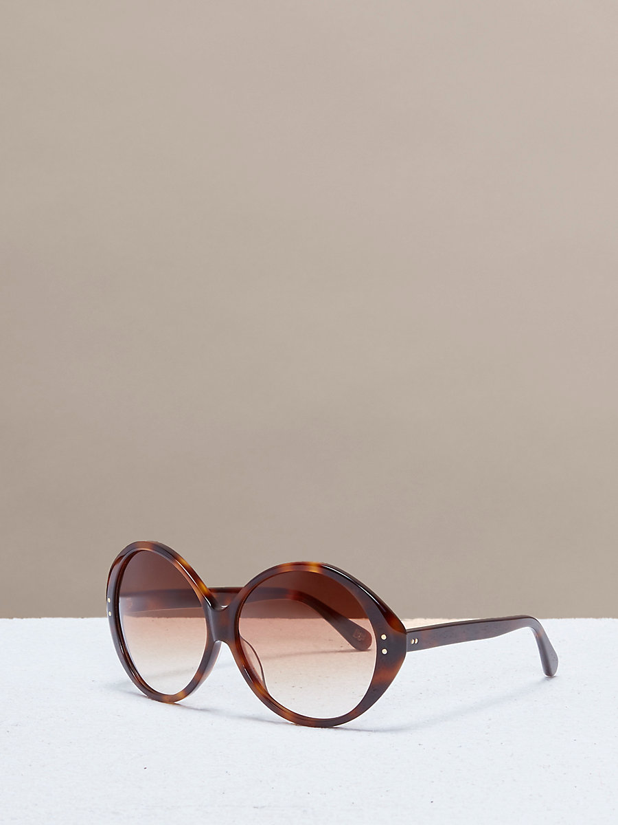 Sophie Circle Sunglasses in Soft Tortoise by DVF