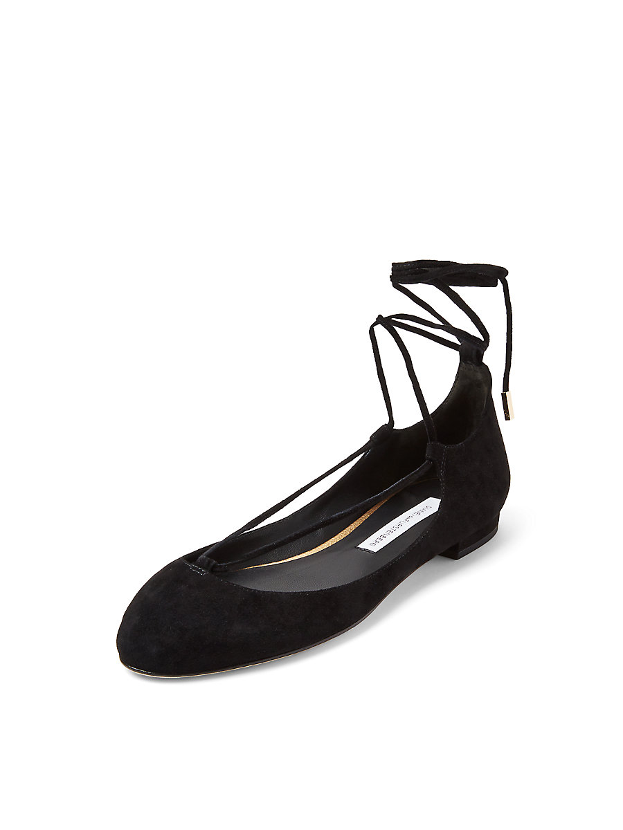 PARIS LEATHER FLAT in Black by DVF