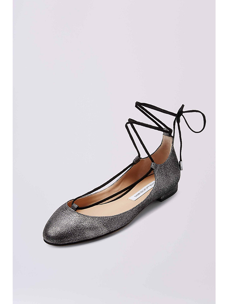 PARIS LEATHER FLAT in Pewter by DVF