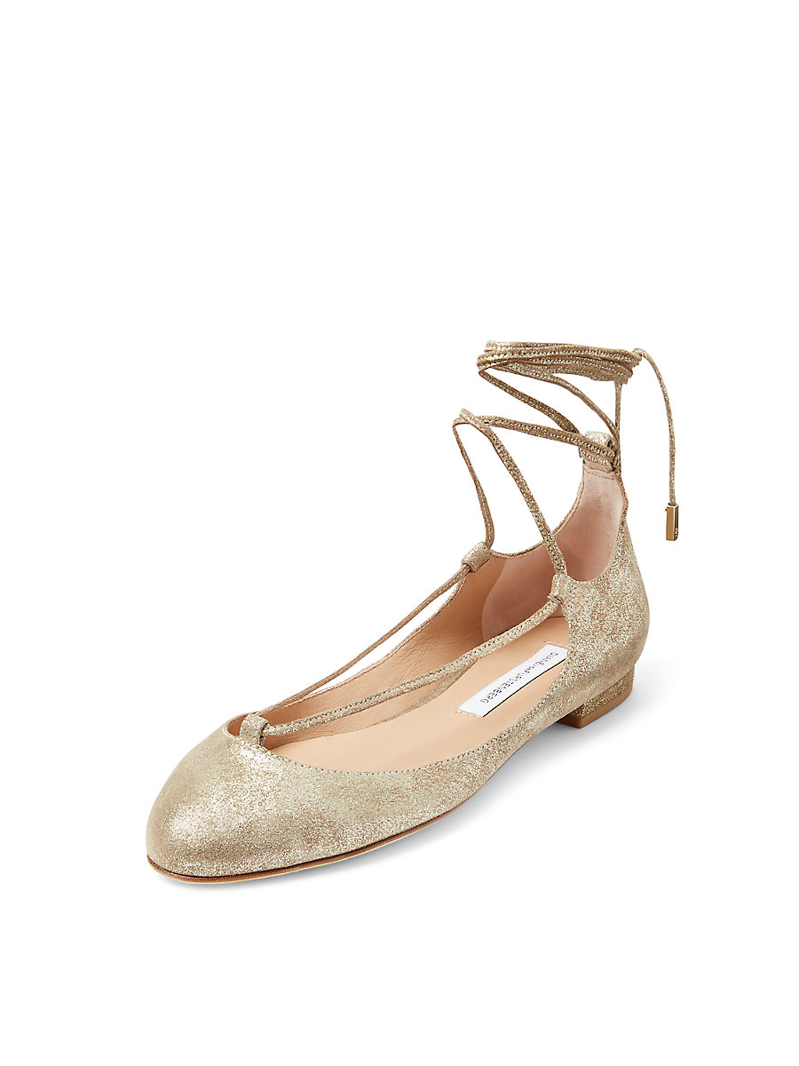 PARIS LEATHER FLAT in Storm Glitter by DVF