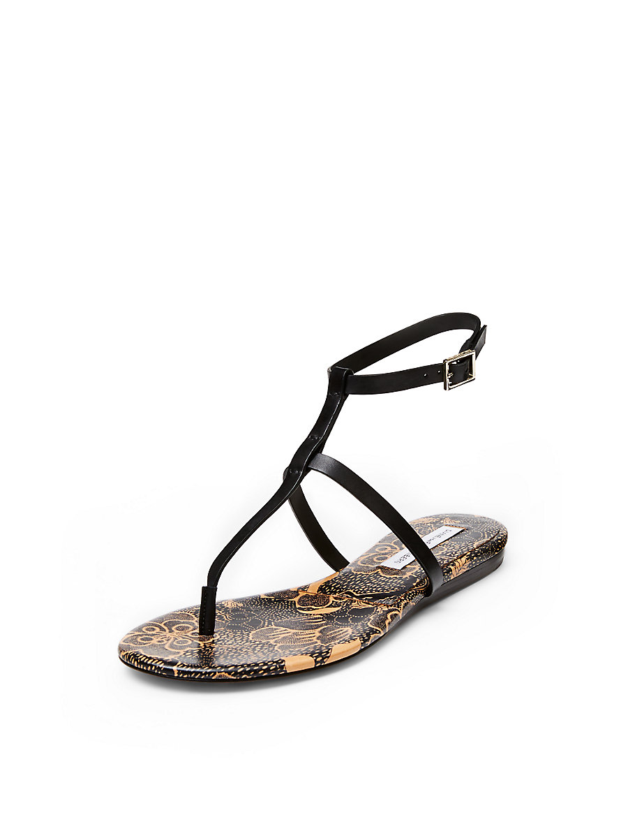 Perugia T-Strap Sandal in Black by DVF