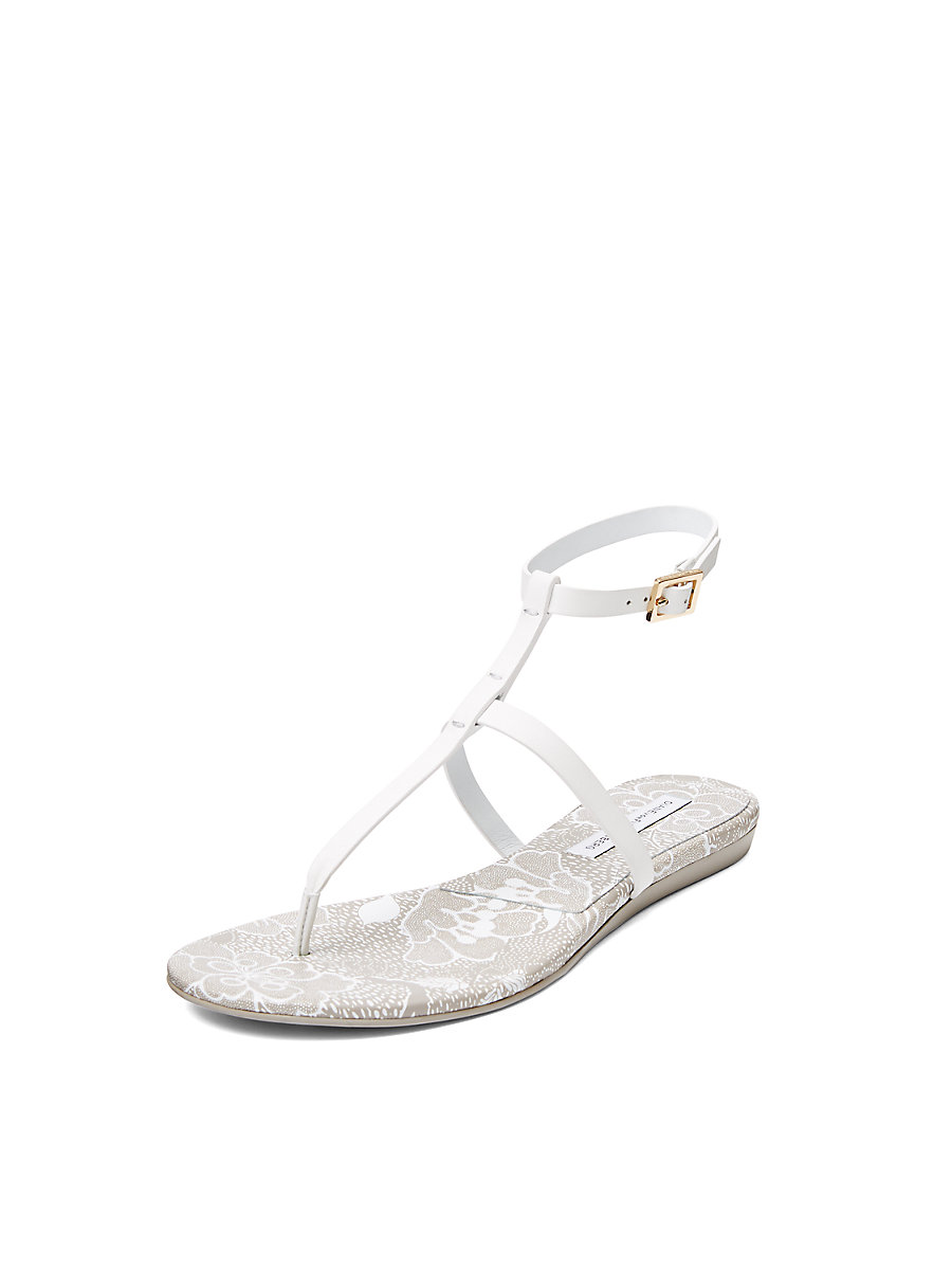 Perugia T-Strap Sandal in White by DVF