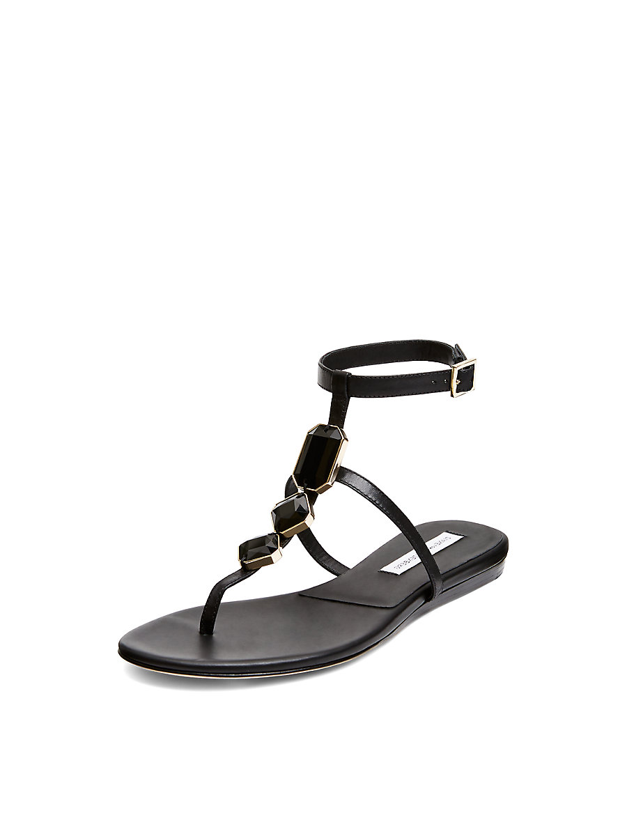 Perugia Embellished T-Strap Sandal in Black by DVF