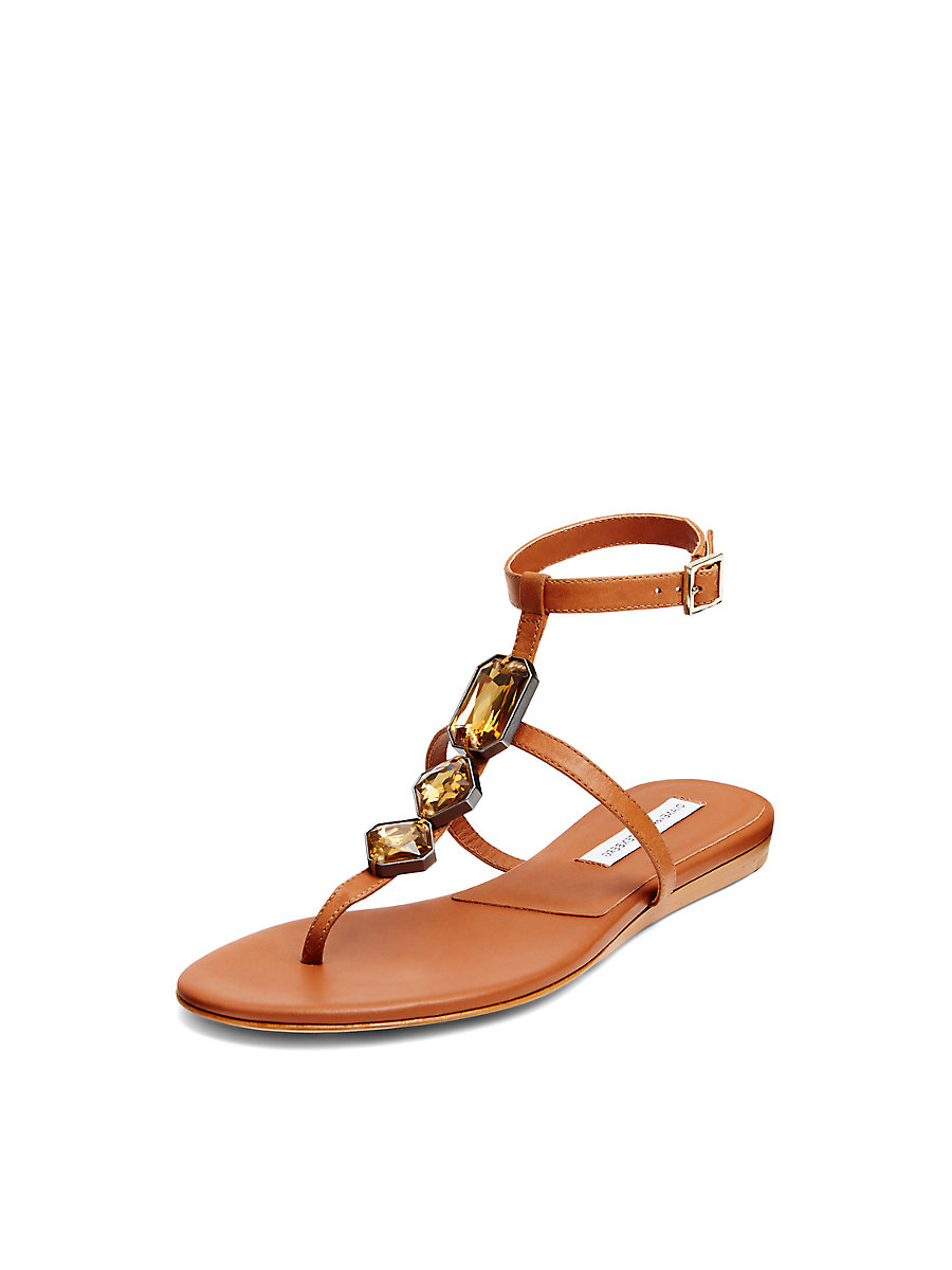 Perugia Embellished T-Strap Sandal in Biscuit by DVF
