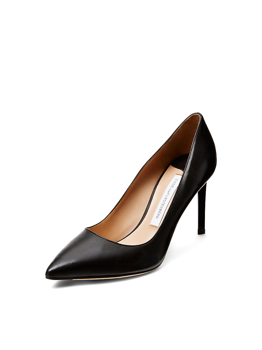 London Leather Pump in Black by DVF