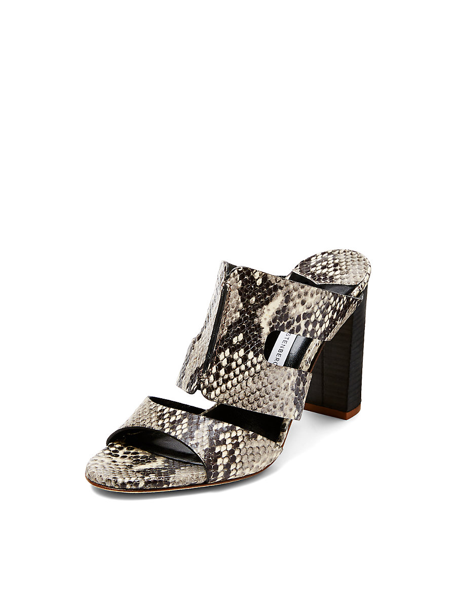 Cosenza Snake Leather Mule Sandal in Stone by DVF