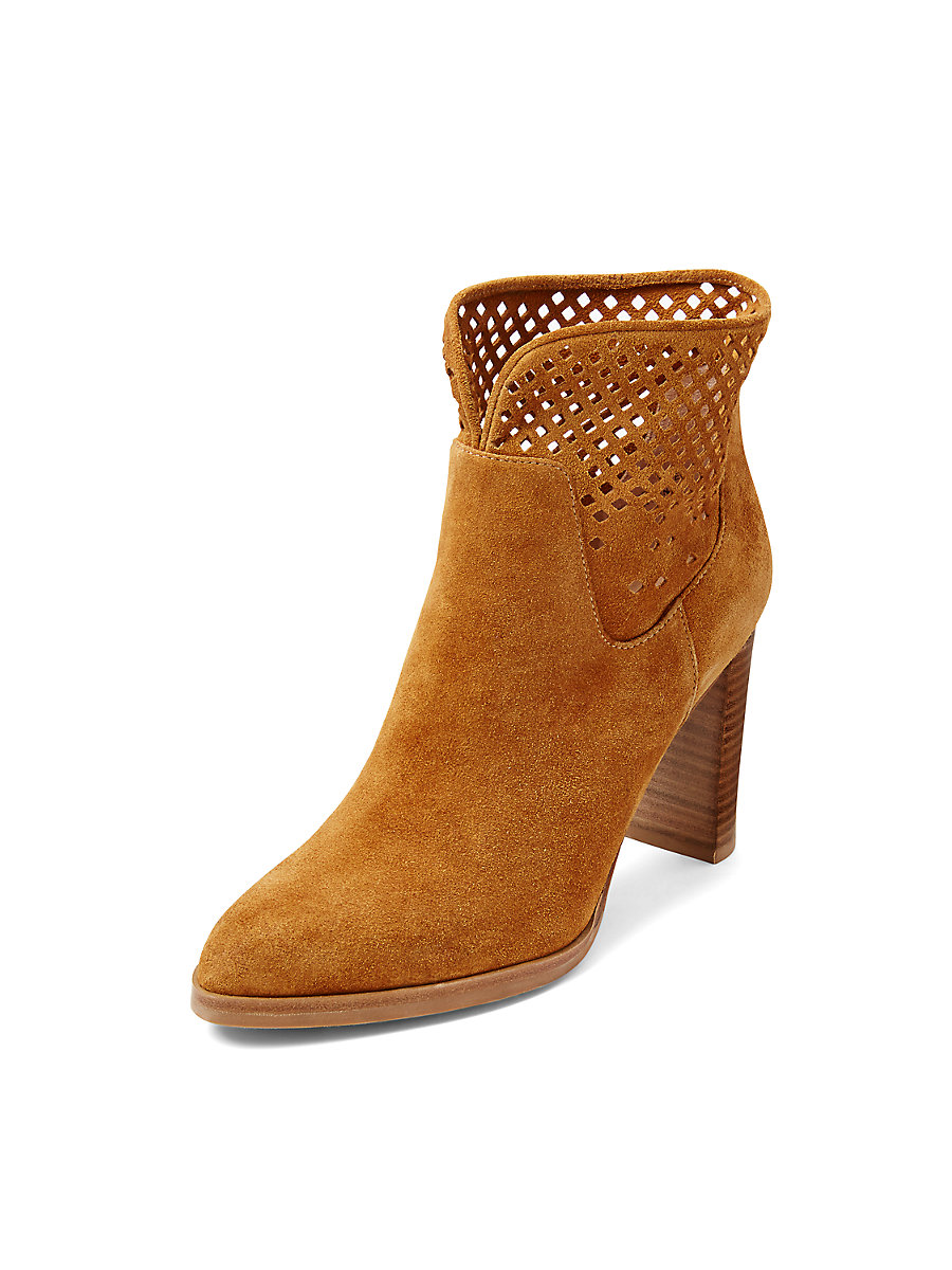 Jaen Perforated Suede Boot in Sand by DVF