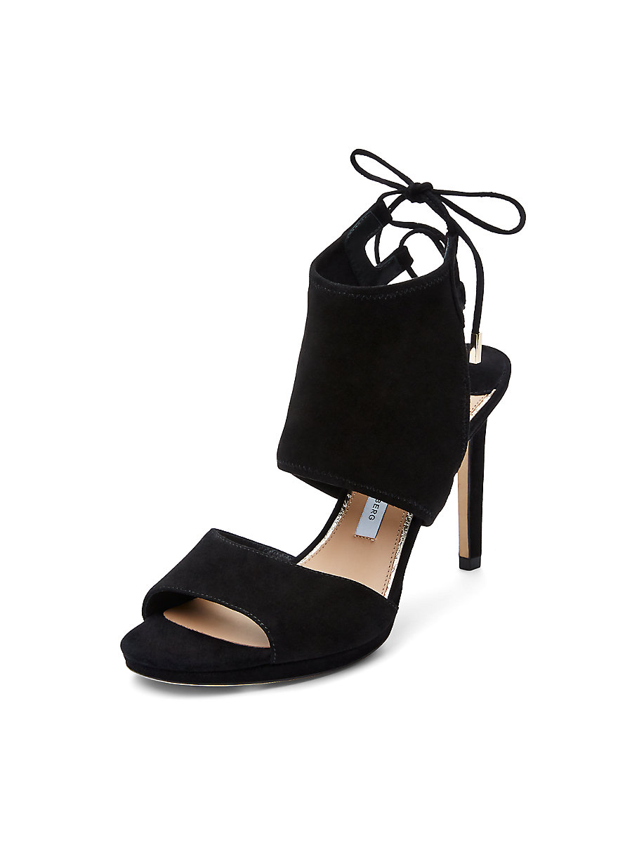 Laie Suede Lace Up Heel in Black by DVF