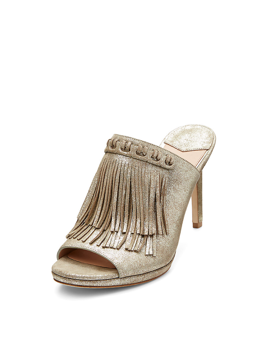 Langley Fringed Mule in Storm Glitter by DVF