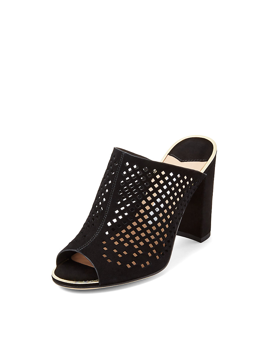 Taviano Perforated Suede Mule in Black by DVF