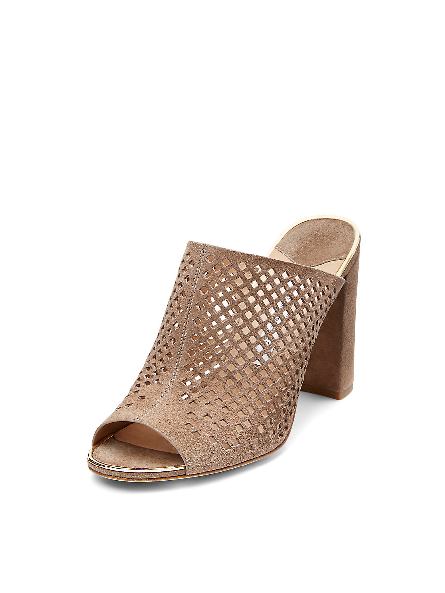 Taviano Perforated Suede Mule in Storm by DVF