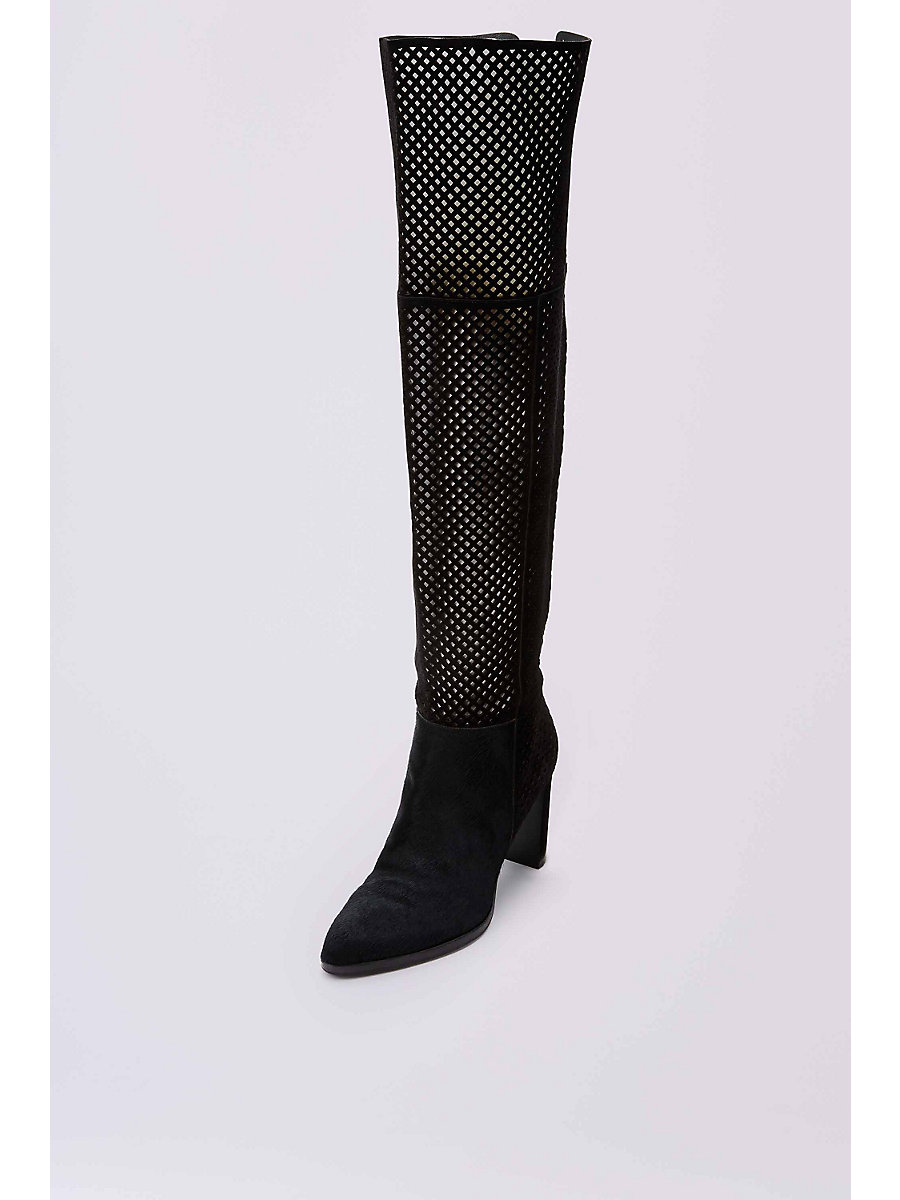 JOLET PERFORATED SUEDE OVER THE KNEE BOOT in Black by DVF