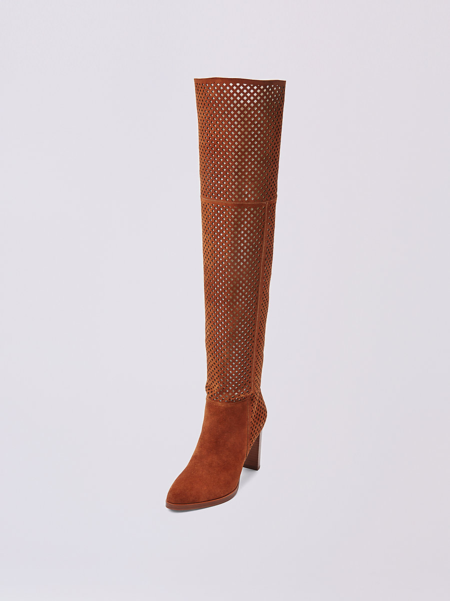 JOLET PERFORATED SUEDE OVER THE KNEE BOOT in Whiskey by DVF