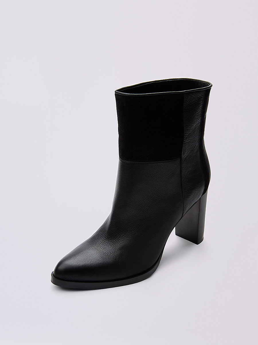 JERICHO HEELED LEATHER BOOTIE in Black by DVF