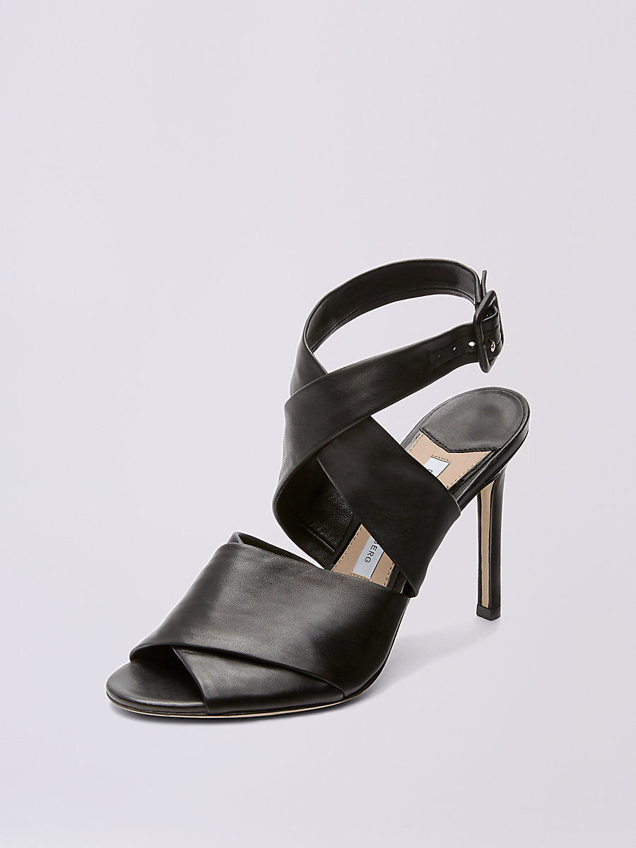 Sondrio Leather Sandal in Black by DVF