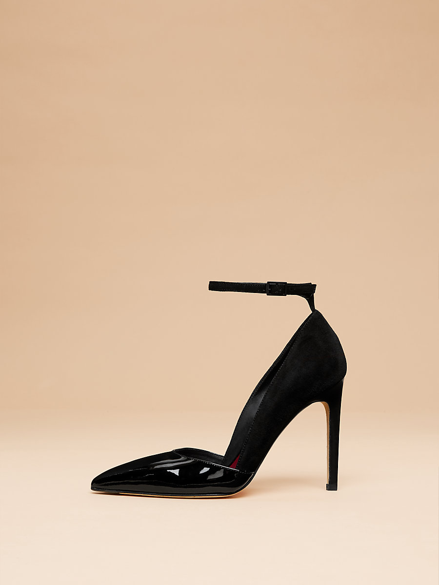 Laredo Pump in Black Patent/ Suede by DVF