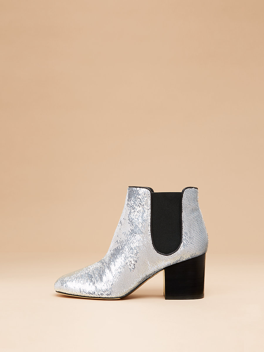 Demonte Bootie in Silver Sequins by DVF