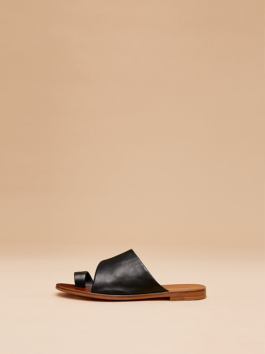 Ello Leather Slide in Black Nappa by DVF