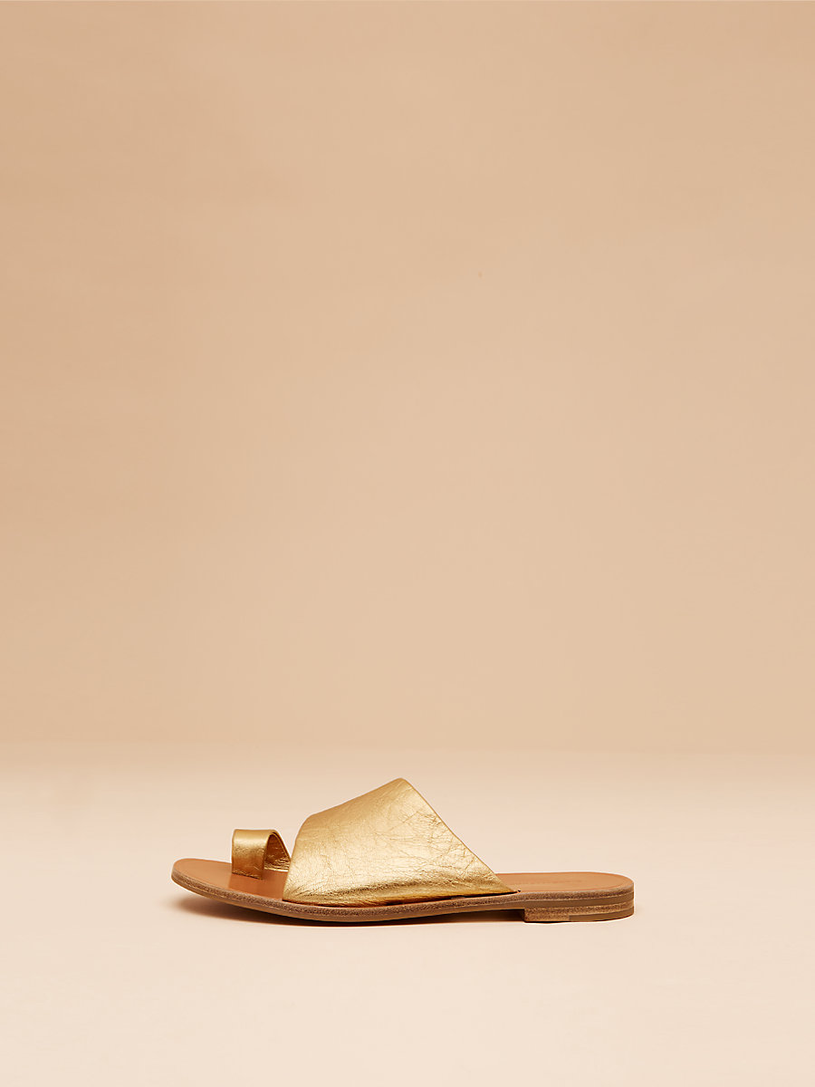 Ello Leather Slide in Gold Metallic Nappa by DVF