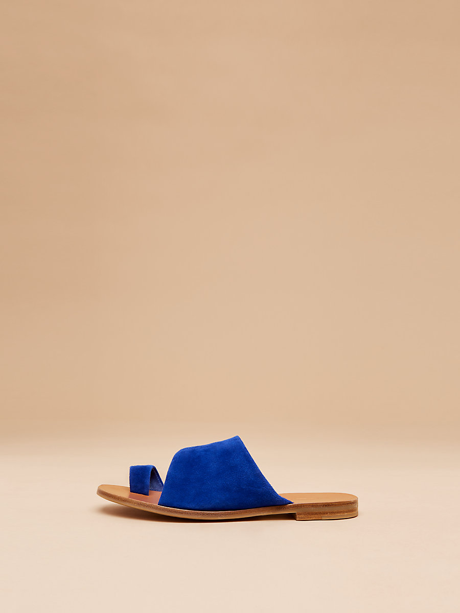 Ello Leather Slide in Ultrablue by DVF
