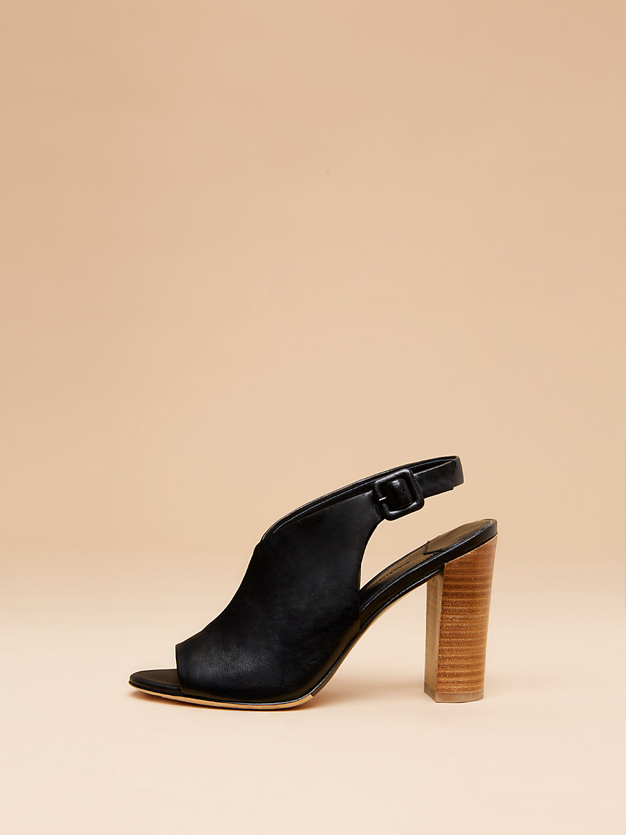 Carini Leather Slide in Black Nappa by DVF