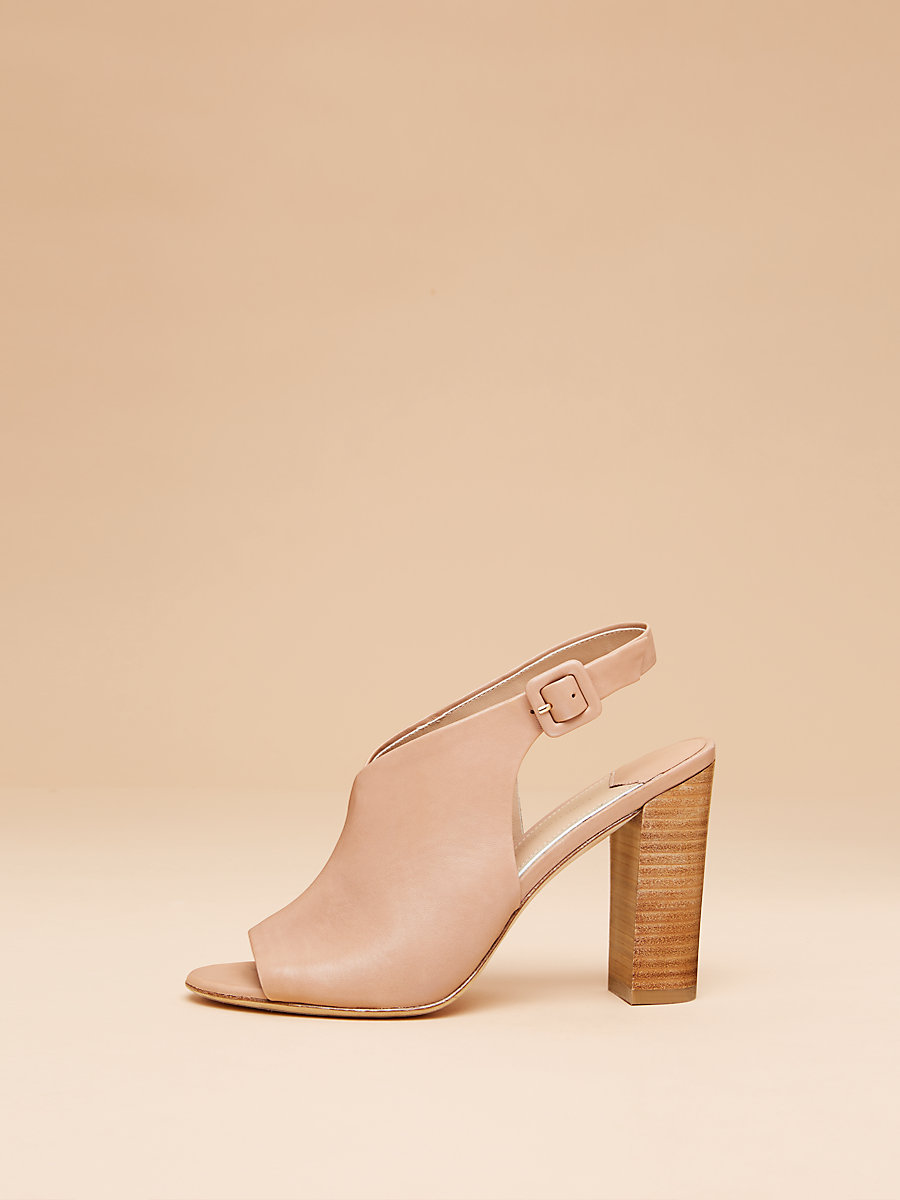 Carini Leather Slide in Powder Nappa by DVF
