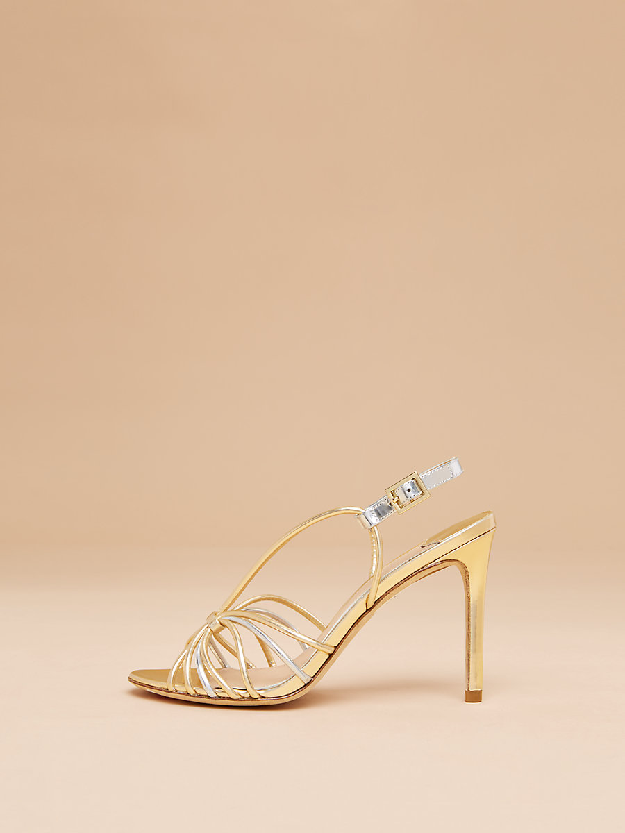 Milena Heel in Gold/ Silver Specchio by DVF