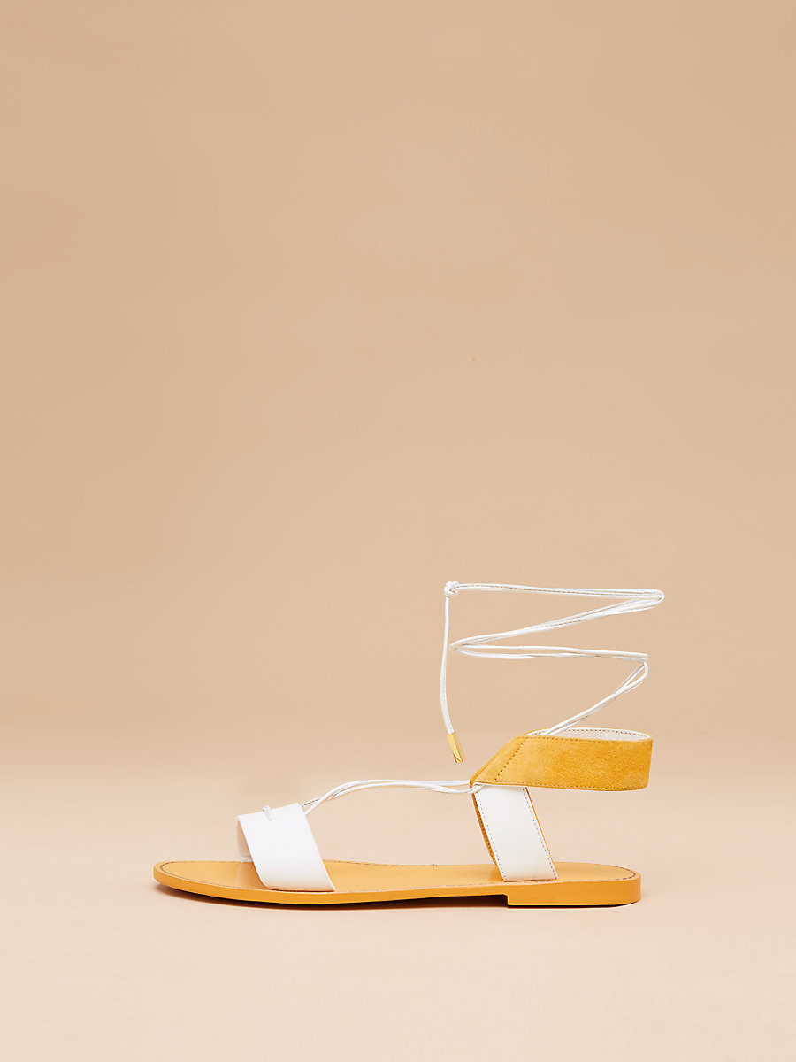 Estonia Leather Sandal in White Saffron by DVF