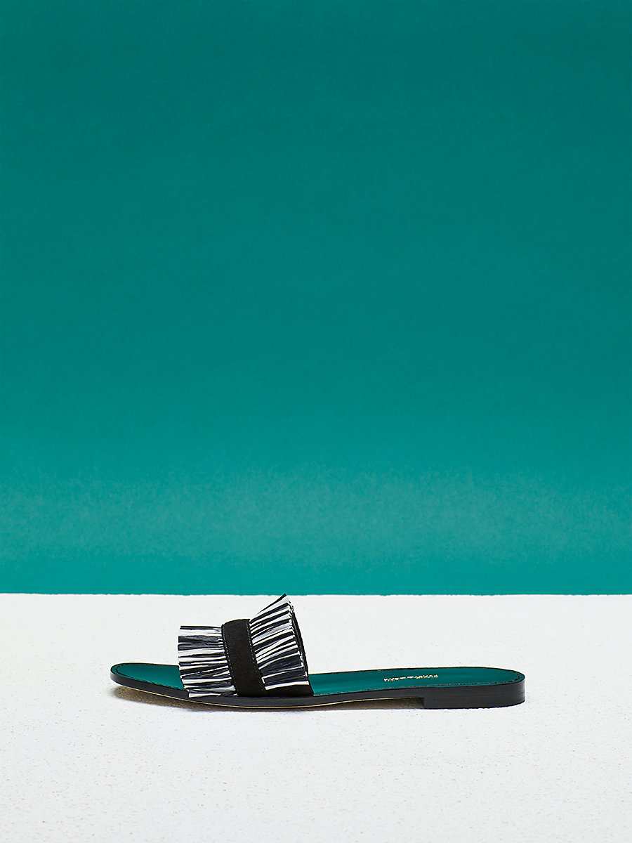 Eilat Sandal in Black/ Ivory by DVF