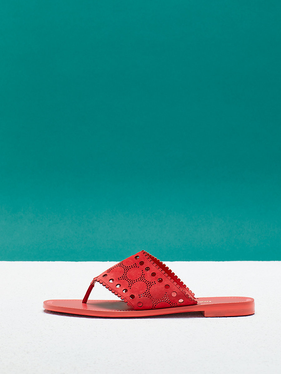 Ekati Sandal in Vintage Pink Kid Suede by DVF