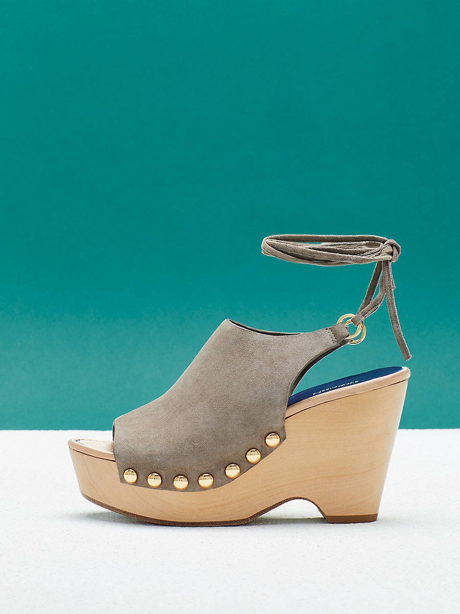 Bali Wedge in Mushroom Kid Suede by DVF