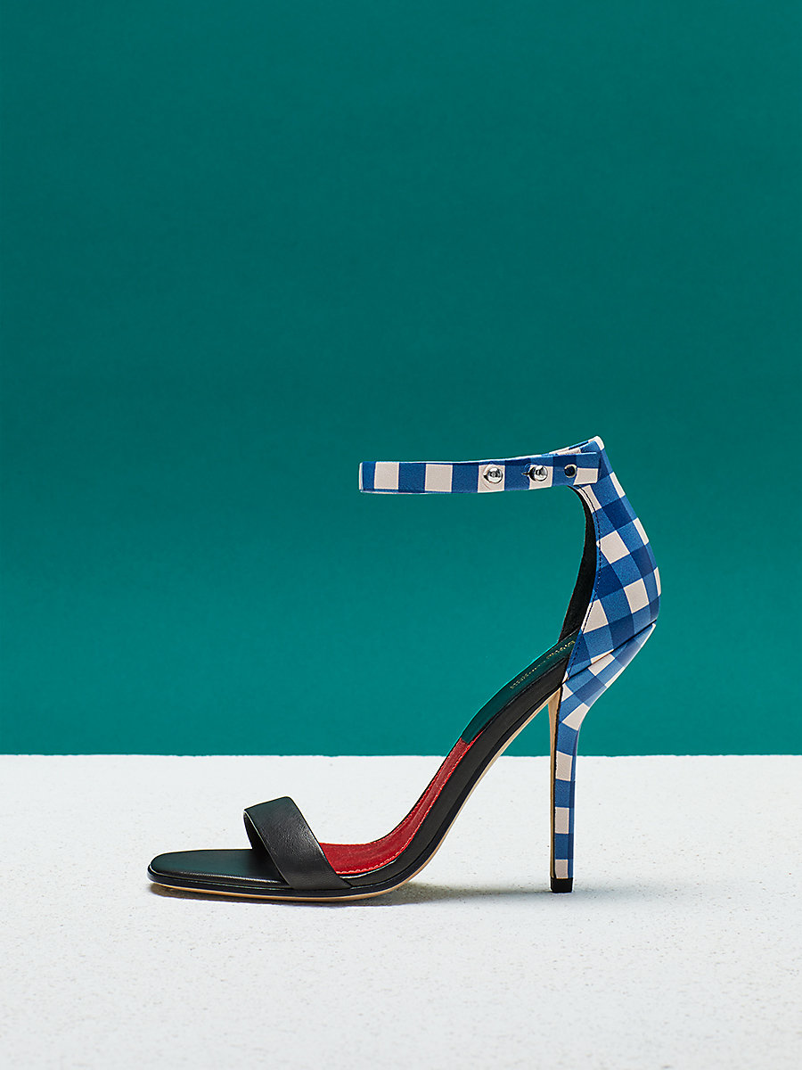 Ferrara Heel in Black/ Gingham by DVF