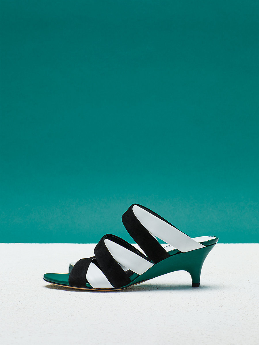 Ghanzi Sandal in Black/ White by DVF