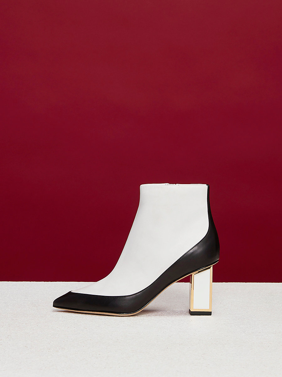 Cainta Leather Boots in Black/ White by DVF