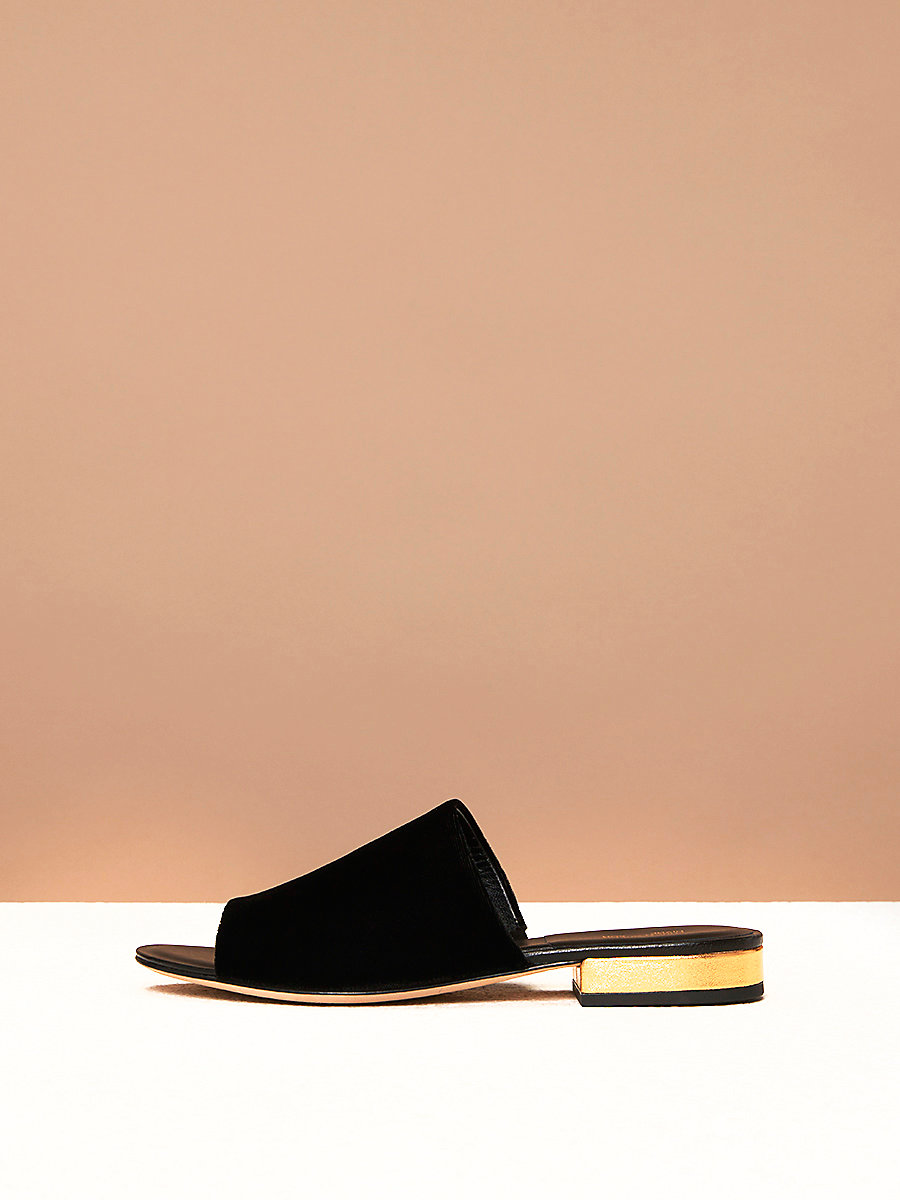 Velvet Slides in Black Velvet by DVF