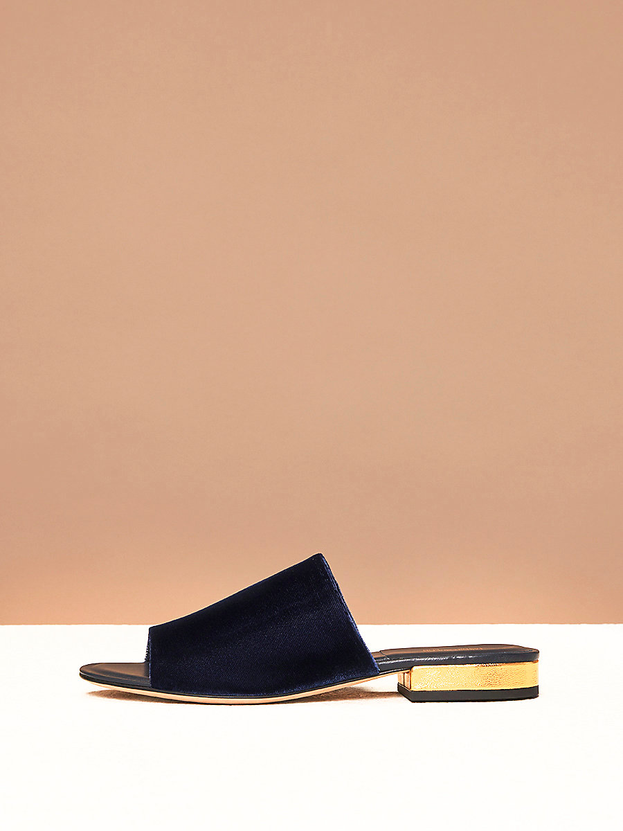 Velvet Slides in Midnight Velvet by DVF