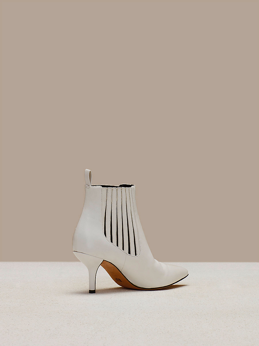 Mollo Leather Boots in Ivory by DVF