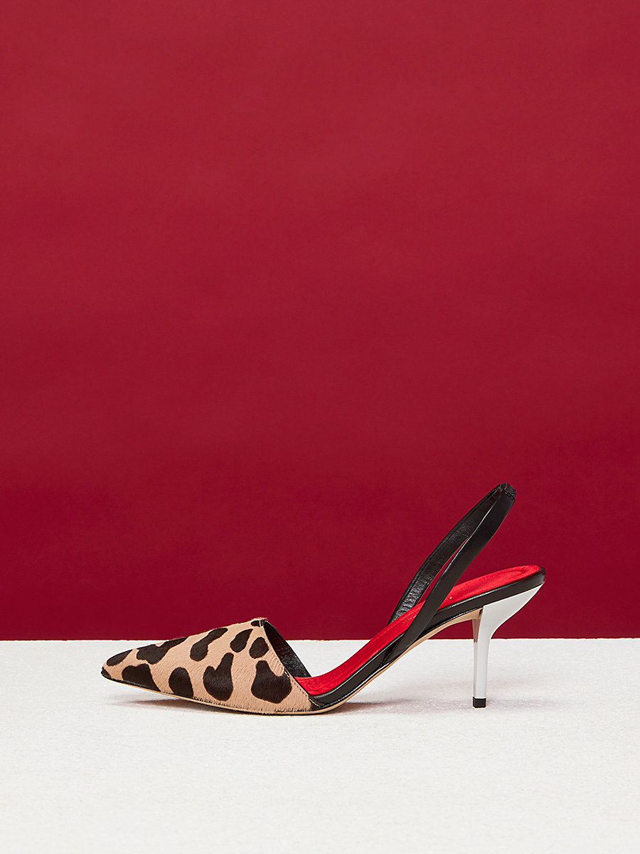 Mortelle Calf Hair Slingback Heels in Natural Leopard by DVF