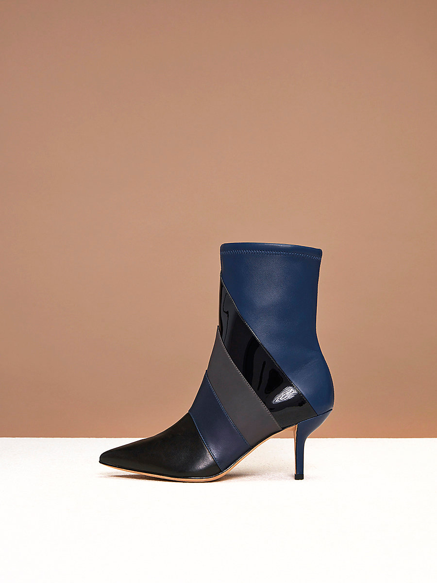 Miles Boots in Black/ Navy Combo by DVF