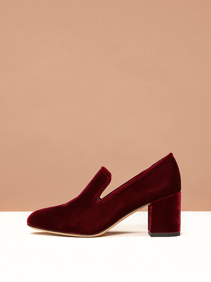 Rimella Loafers in Bordeaux Velvet by DVF