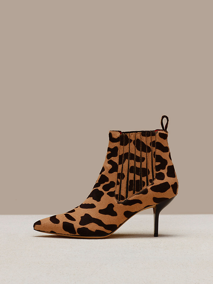 Mollo Calf Hair Boots in Natural by DVF