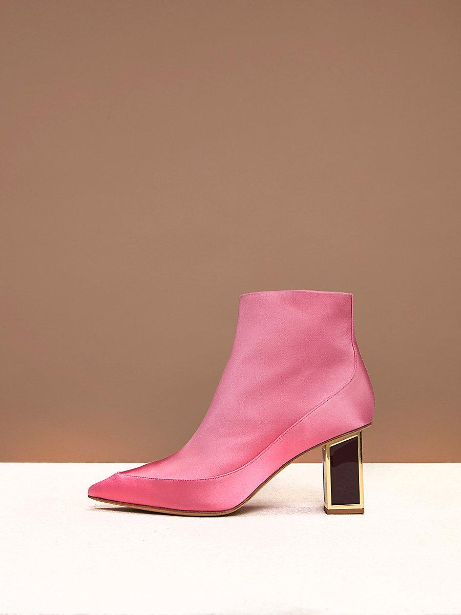 Cainta Satin Boots in Pink Azalea Satin by DVF