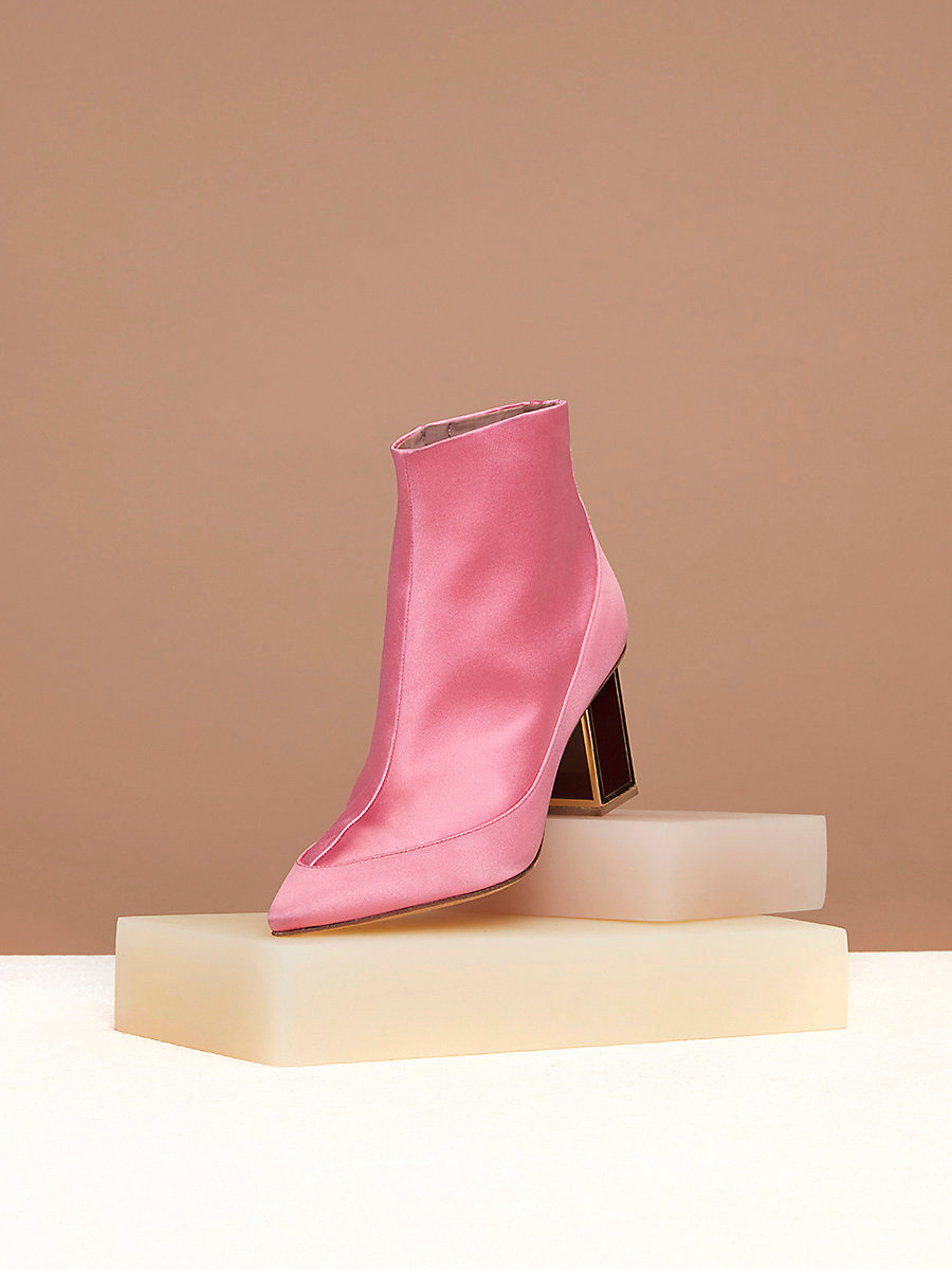 Cainta Satin Boots in Pink Azalea Satin by DVF
