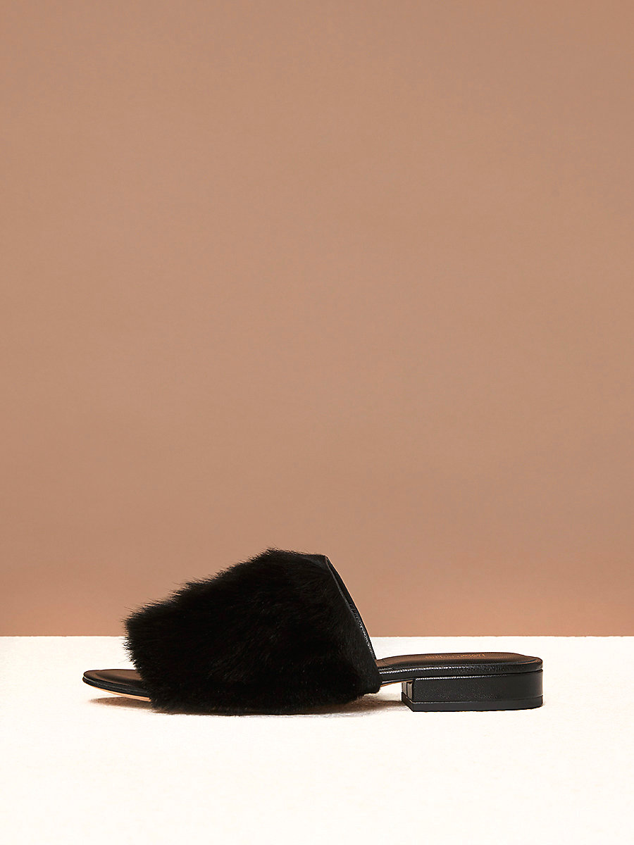 Shearling Slides in Black by DVF